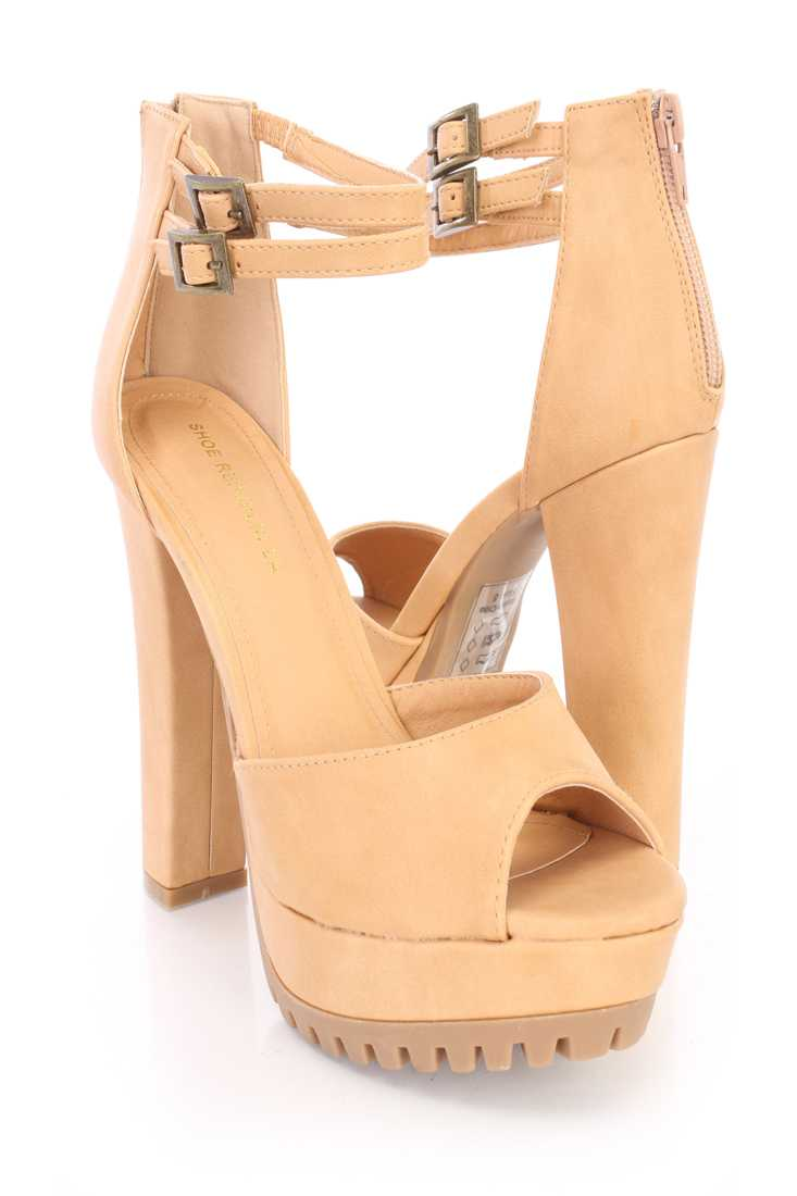 Camel Peep Toe Platform Ankle Strappy High Heels Faux Leather
