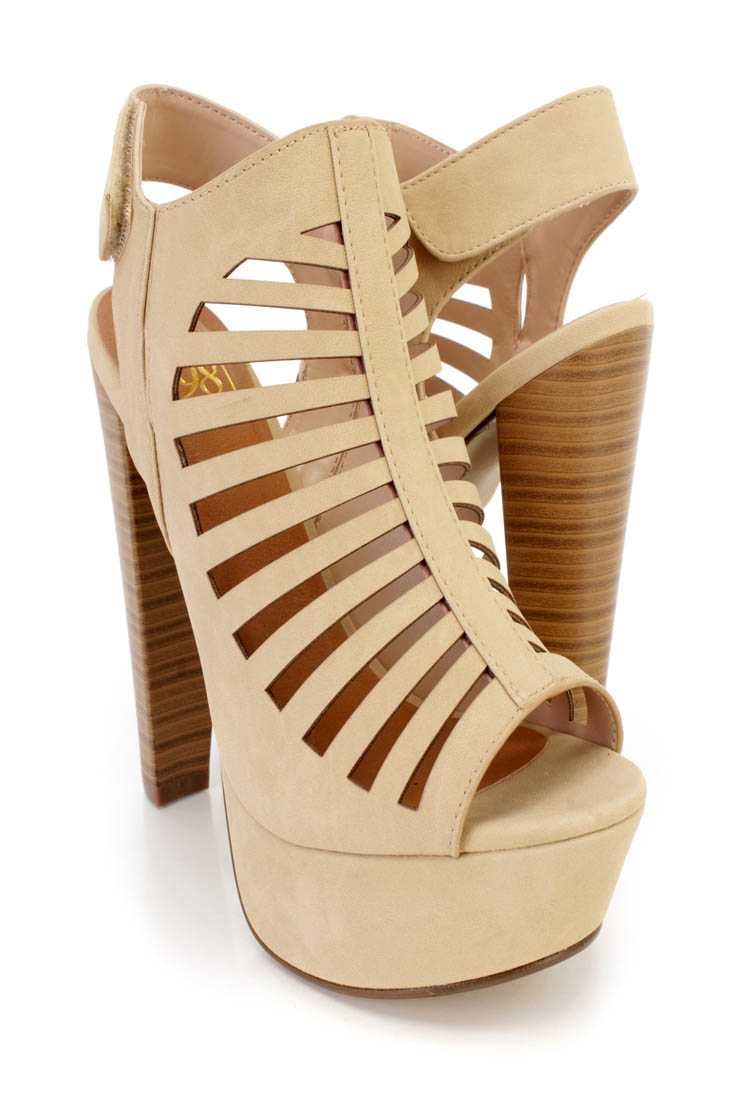 Beige Perforated Strappy Platform Booties Nubuck