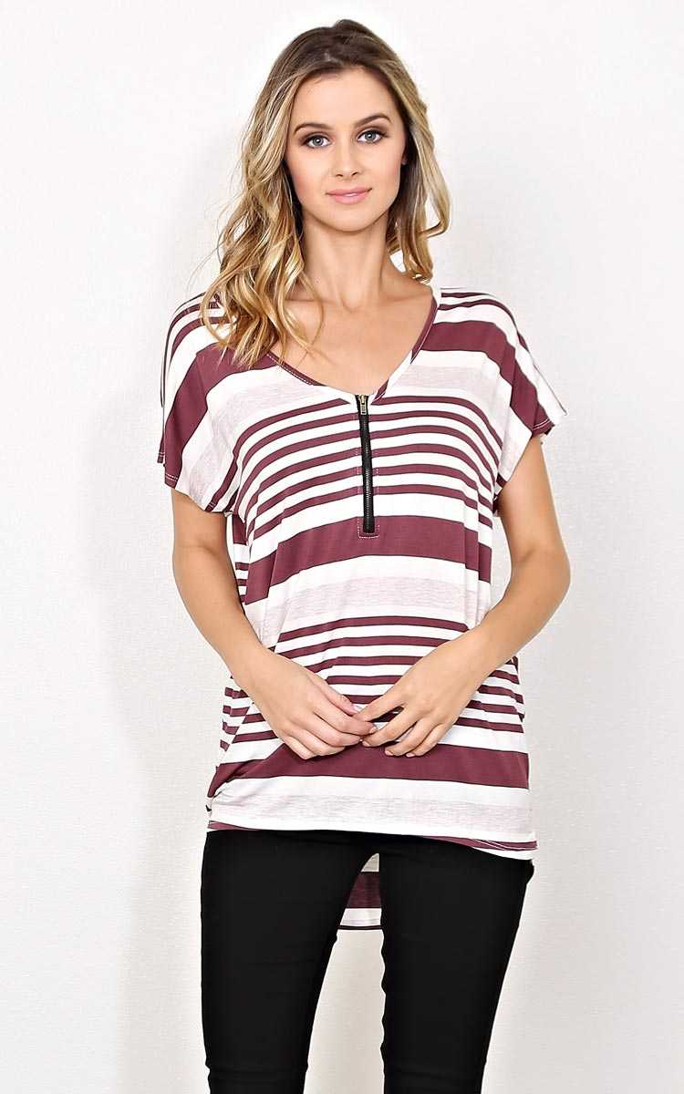 Tanner Striped Knit Dolman Top - - Dusty Plum in Size by Styles For Less