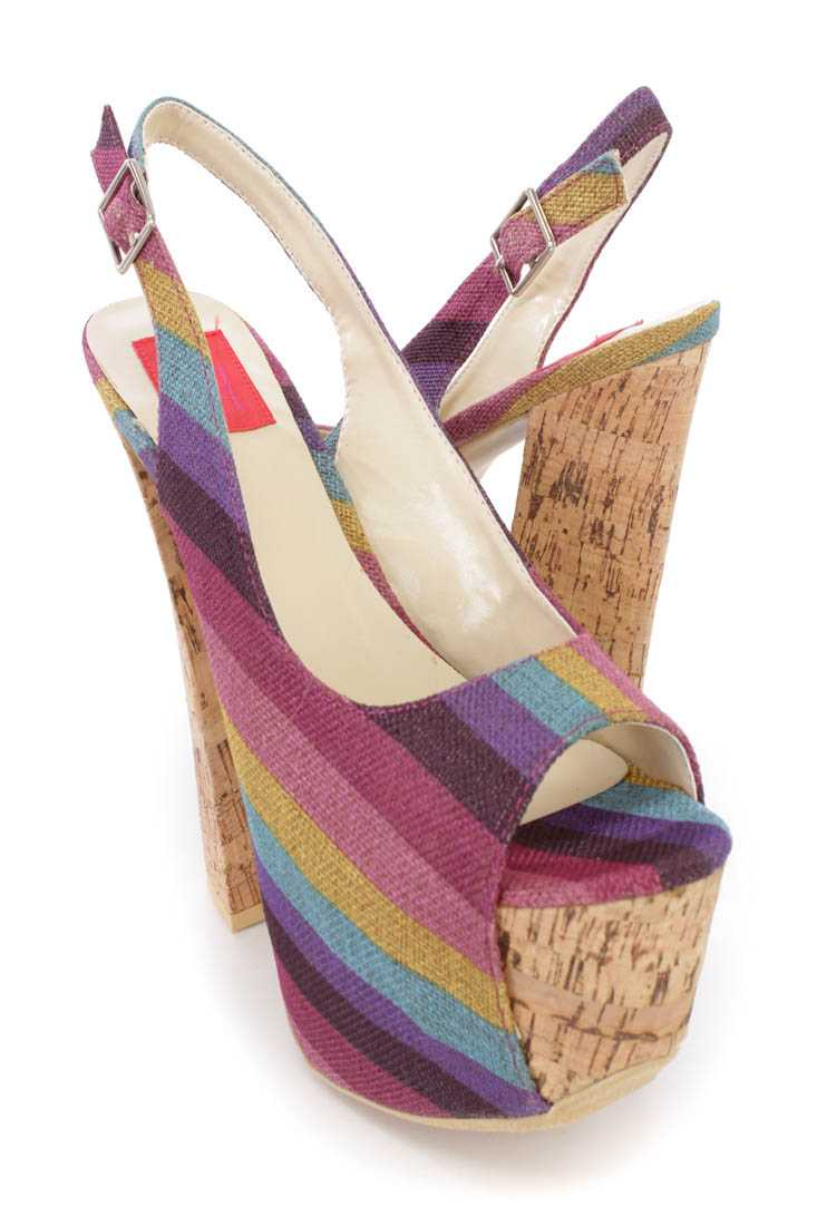 Purple Stripe Chunky 6 Inch High Heels Canvas