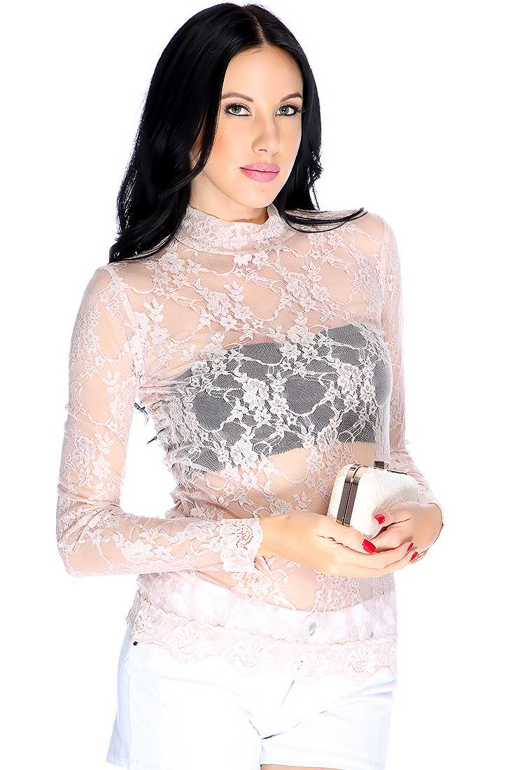 Dusty Pink Floral Lace Mesh Mock Neck Long Sleeve Casual Top