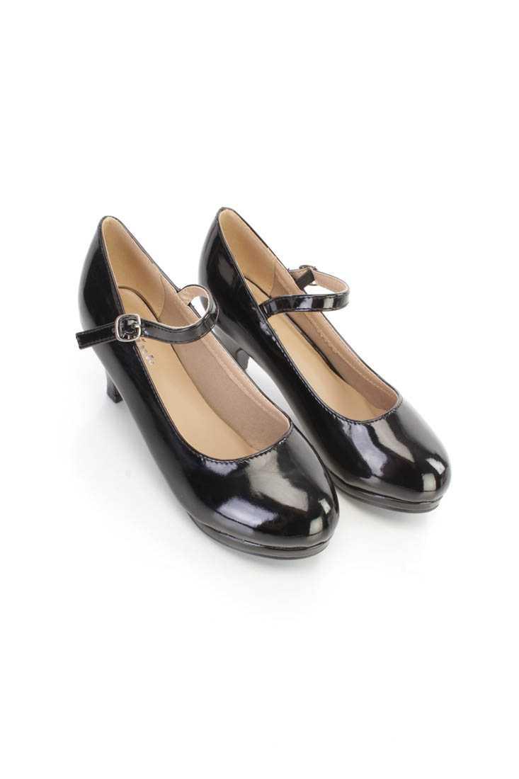 Black Mid Strap Maryjane Kids Heels Patent