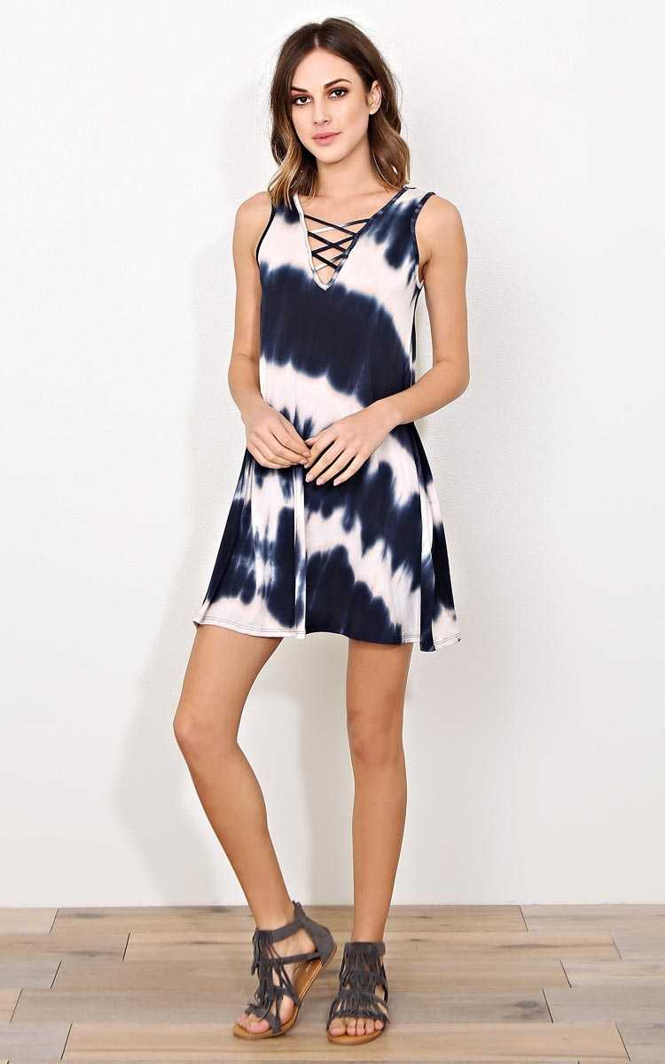 Curacao Tie Dye Shift Dress - LGE - Navy Combo in Size Large by Styles For Less
