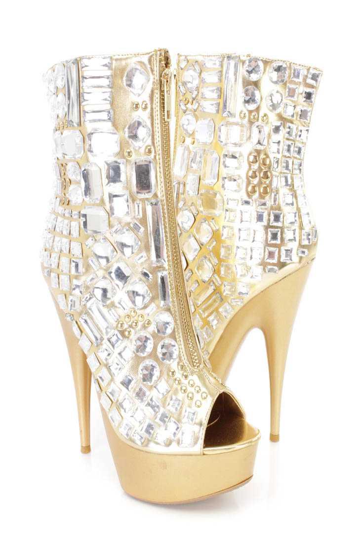Gold Gemstone Peep Toe Platform Heel Boots Faux Leather