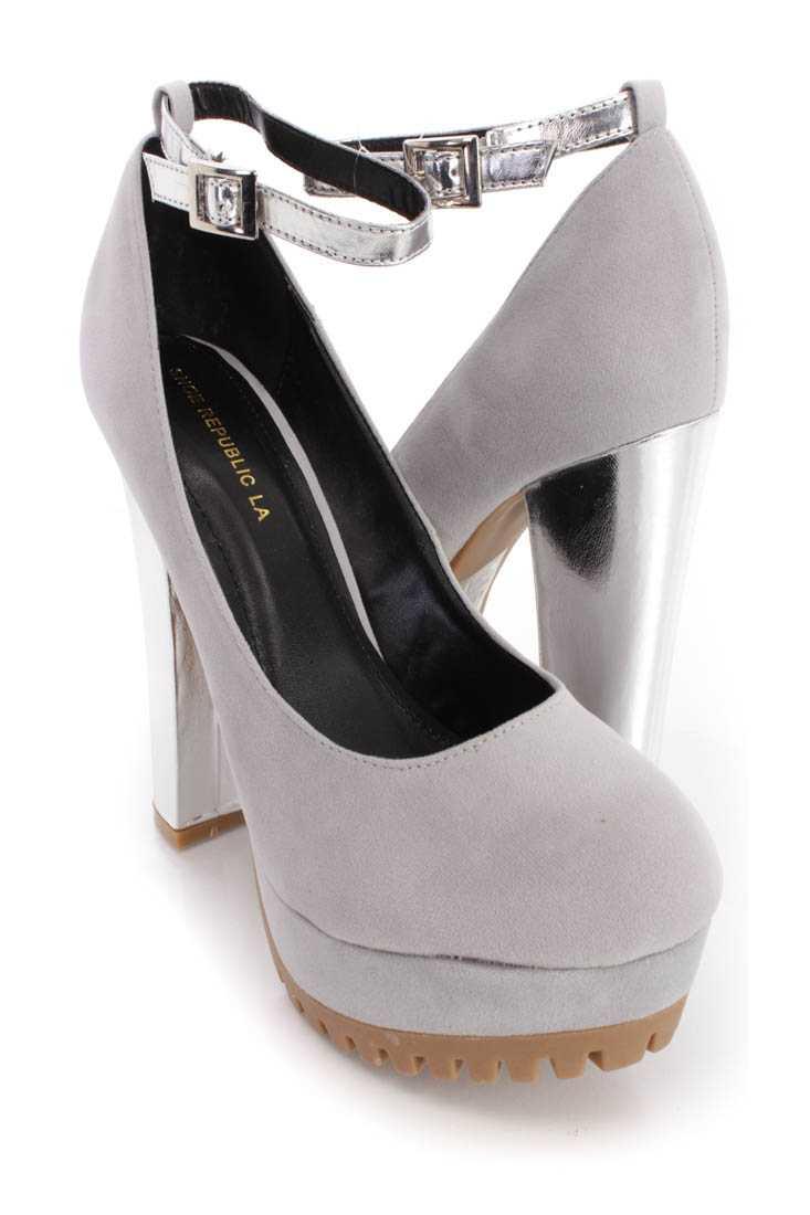 Grey Platform Metallic Chunky High Heels Faux Suede