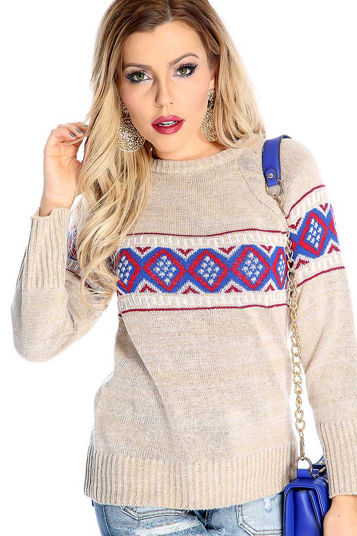 Stylish Beige Long Sleeve Tribal Print Sweater Top