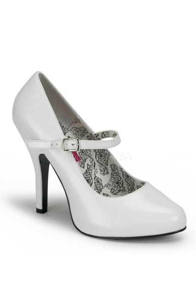 White Patent Faux Leather Maryjane High Heels