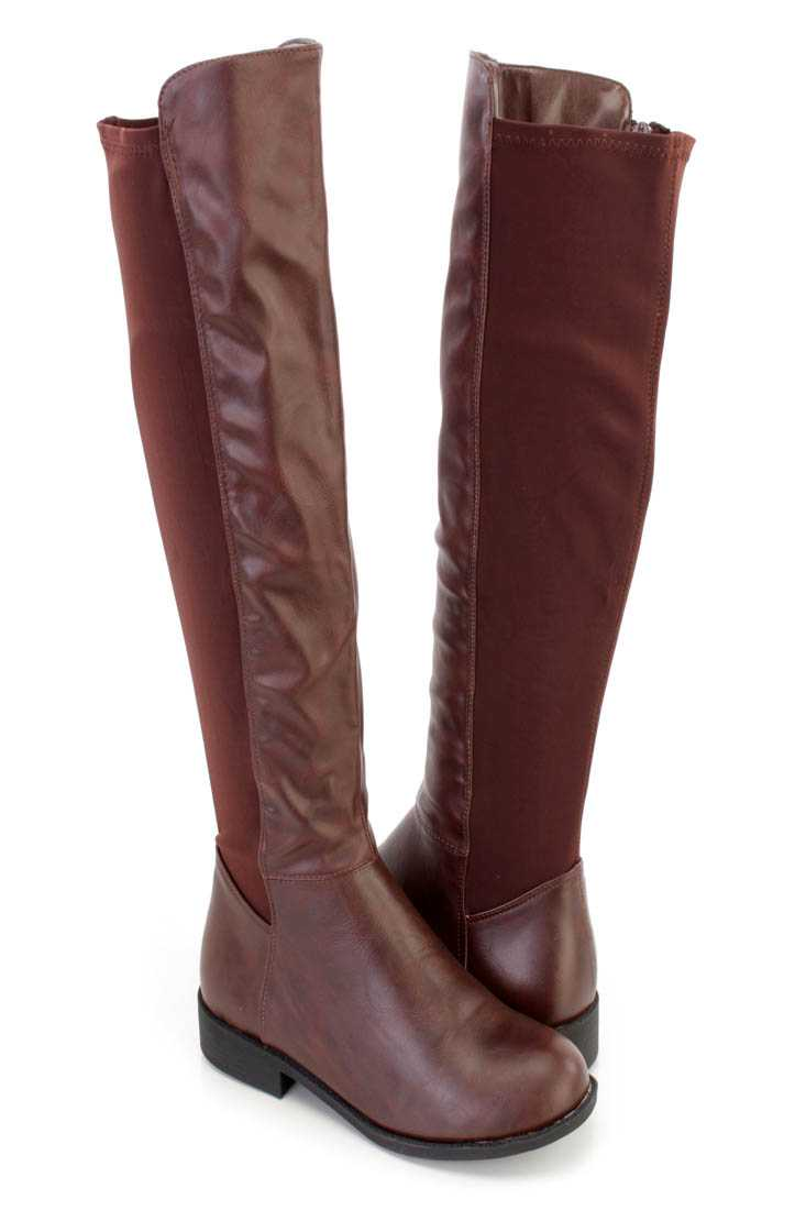 Brown Knee High Riding Boots Faux Leather Nylon