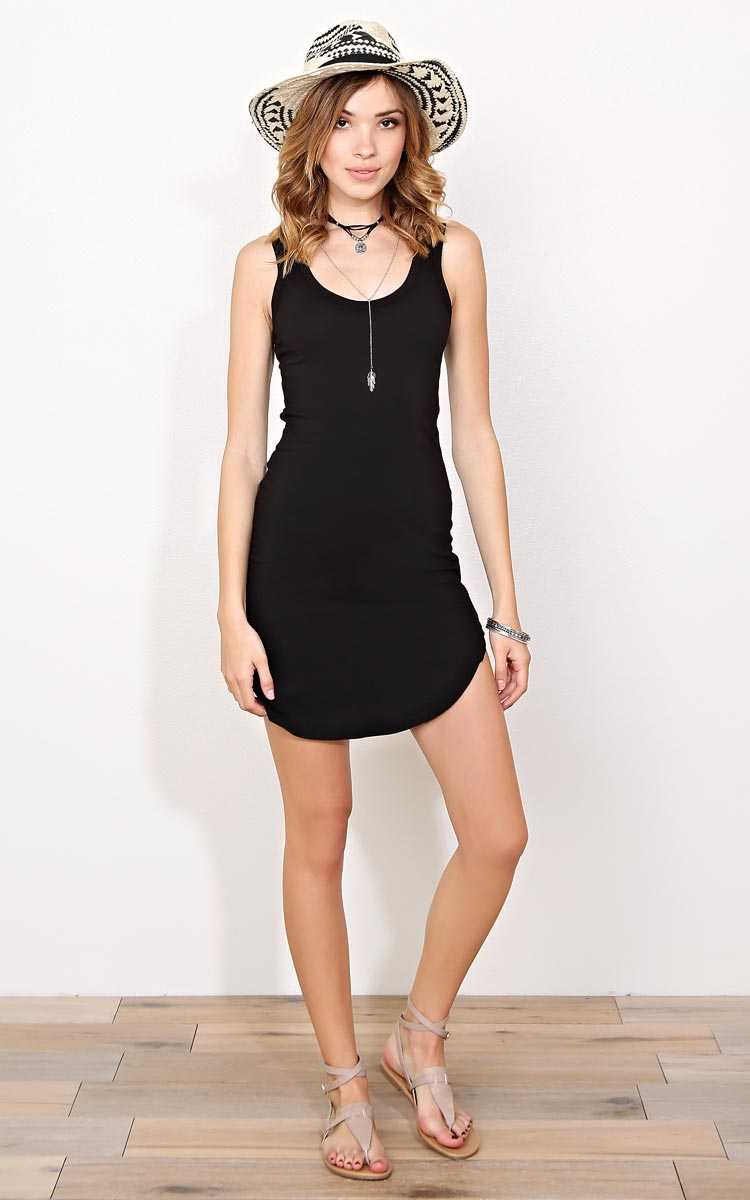 Black Scooped Knit Tank Dress - - Black in Size by Styles For Less