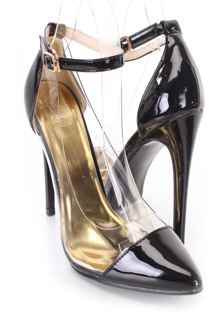 Black Clear Trimmed Single Sole Heels Patent