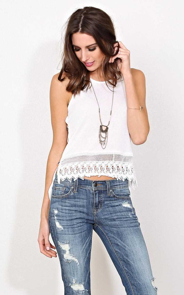 Spring Fling Rib Knit Tank - LGE - White in Size Large by Styles For Less