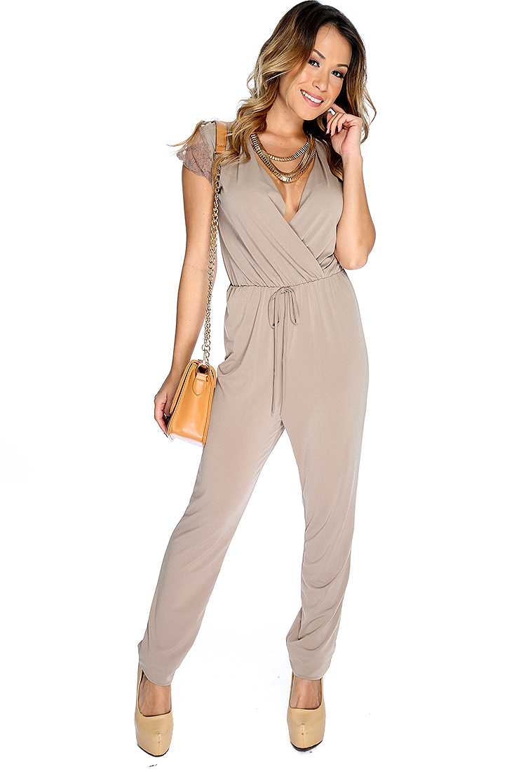 Sexy Taupe Floral Lace Short Sleeve Jumpsuit