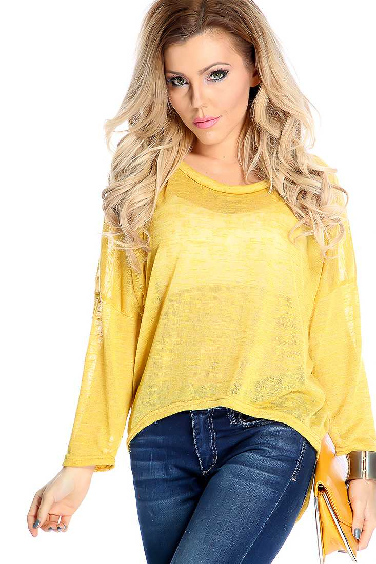Stylish Mustard Long Sleeve Lightweight Material Casual Top