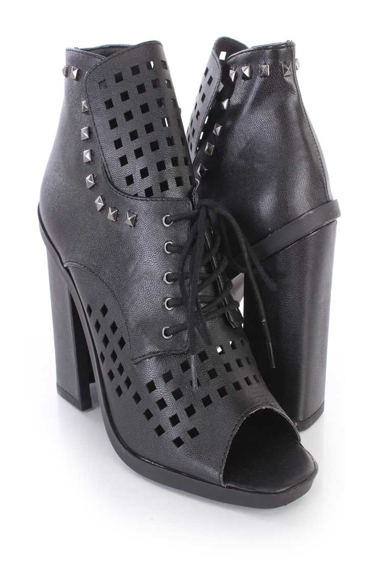 Black Perforated Studded Single Sole Booties Faux Leather