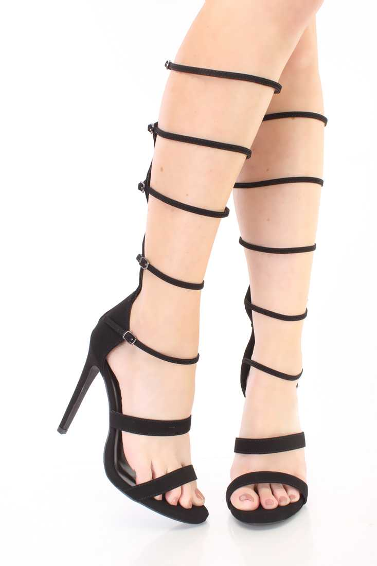 Black Strappy Gladiator Single Sole Heels Nubuck