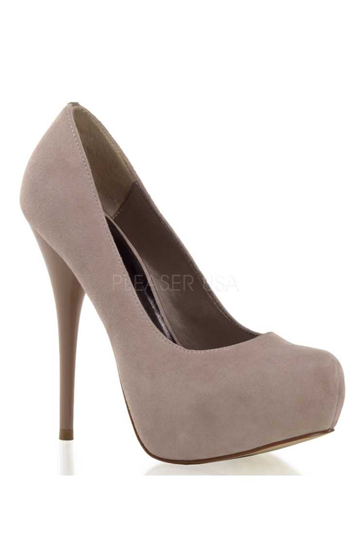Blush Round Toe Platform High Heels Pumps Faux Suede