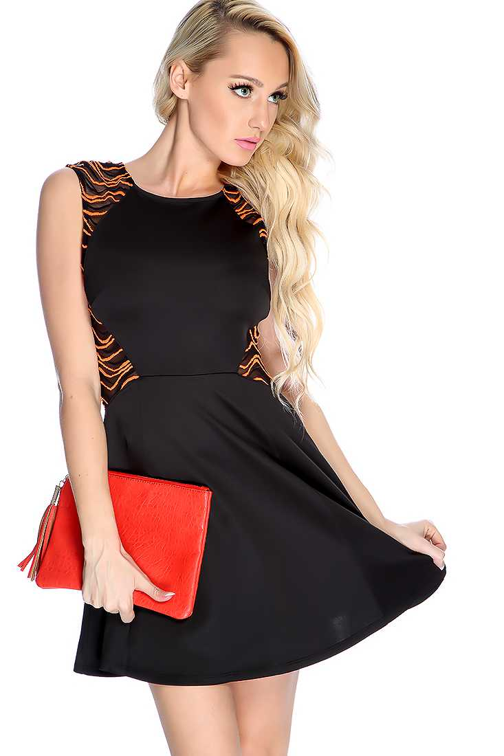Sexy Orange Black Sleeveless Embroidered Mesh Party Dress