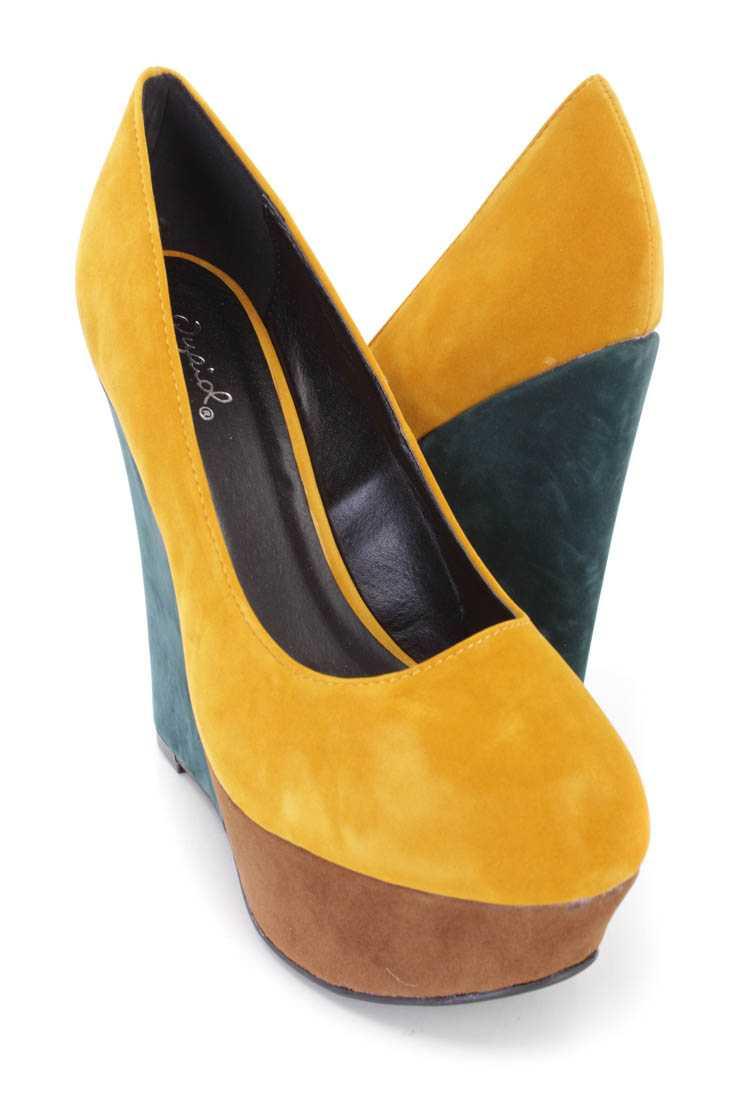 Mustard Colorblock Platform Wedges Velvet