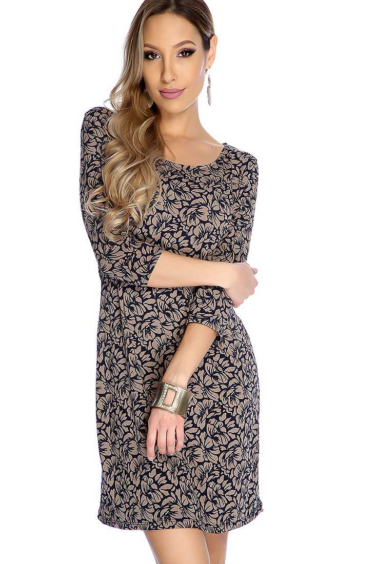 Sexy Mocha Floral Print Quarter Sleeve Party Dress