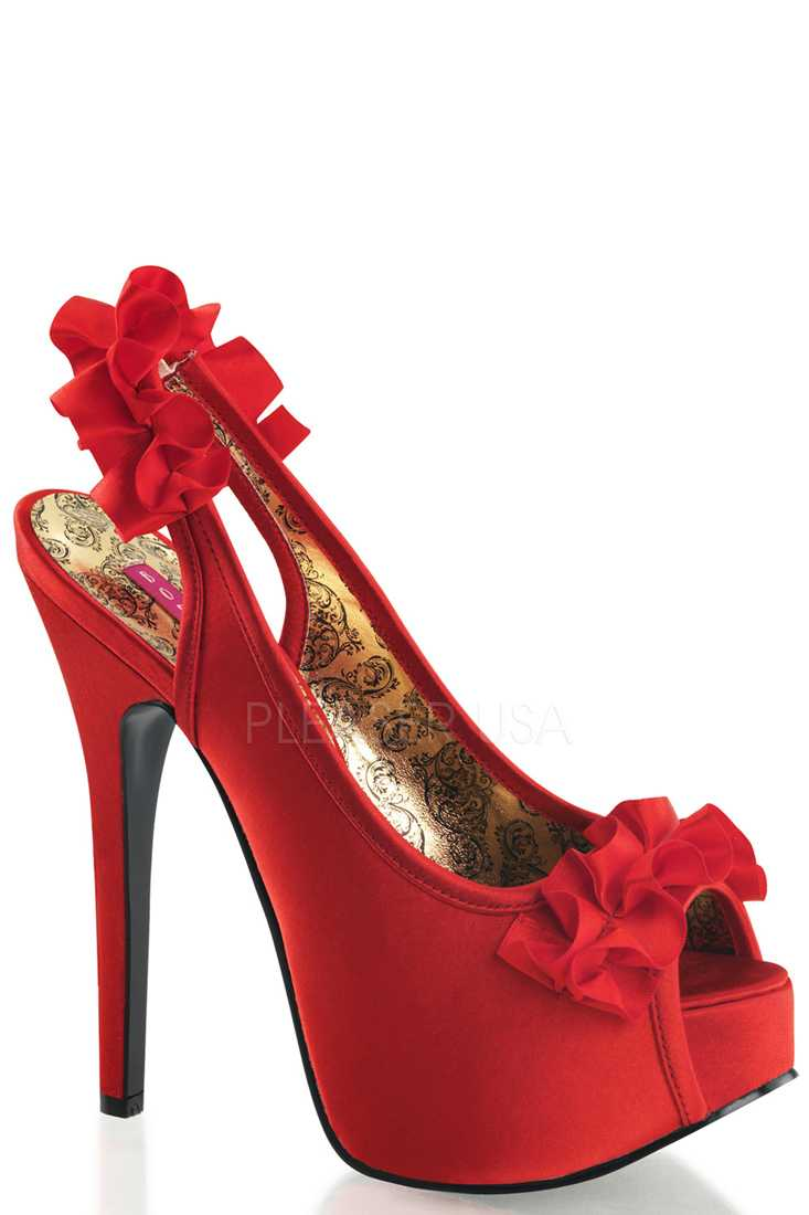 Red Ruffle Detailed Slingback Platform High Heels Satin