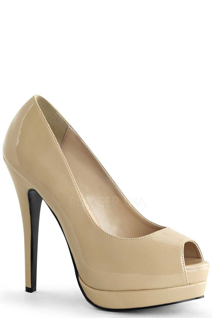 Cream Peep Toe Pump High Heels Patent Faux Leather
