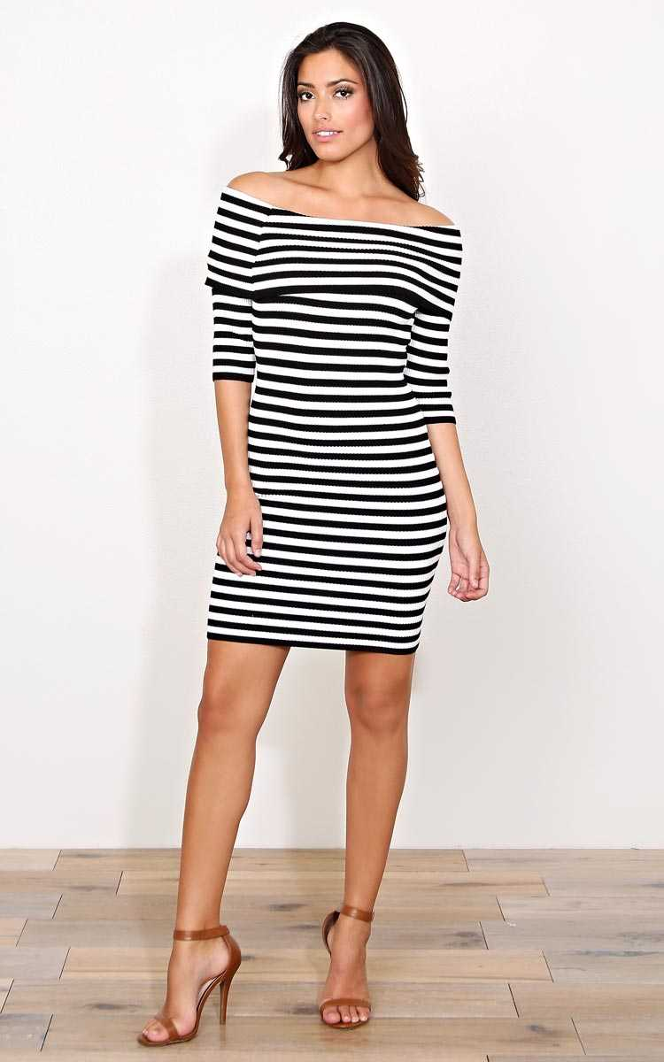 Sight To See Rib Knit Dress - - Black/White in Size by Styles For Less
