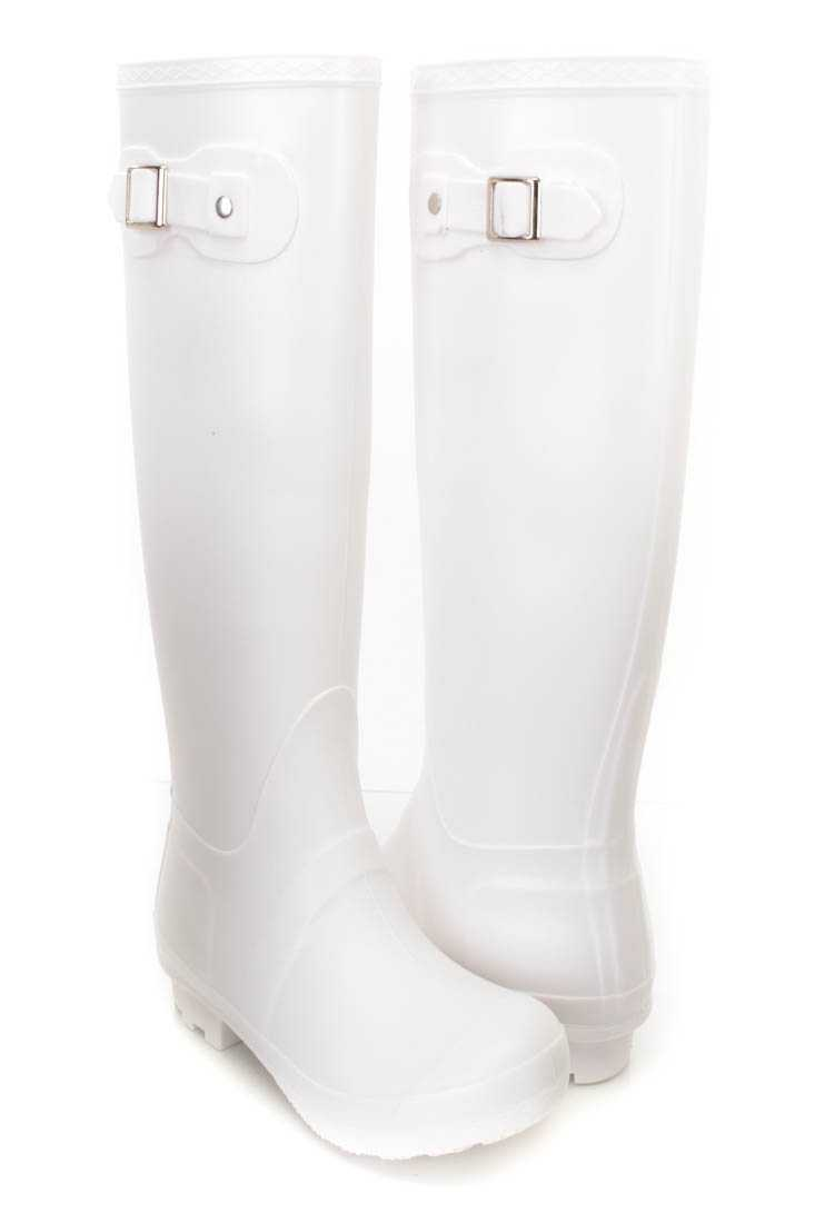 White Buckle Strap Accent Rain Boots Rubber