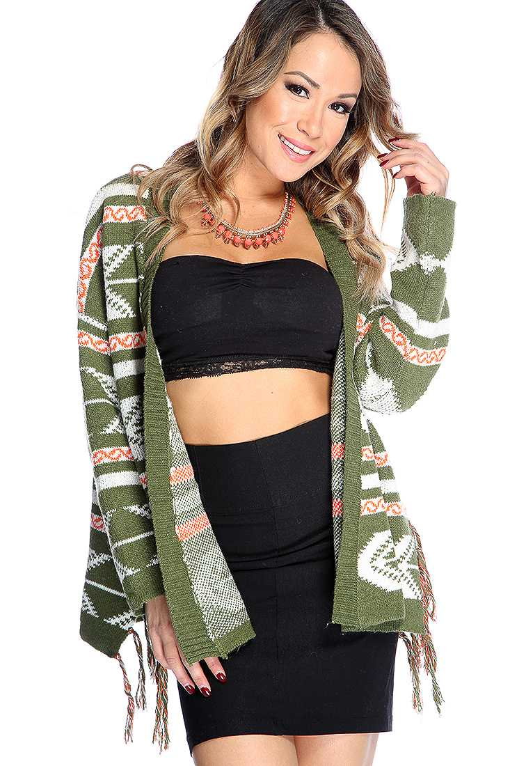 Olive Sweater Tribal Knitted Fringe Open Front Sweater