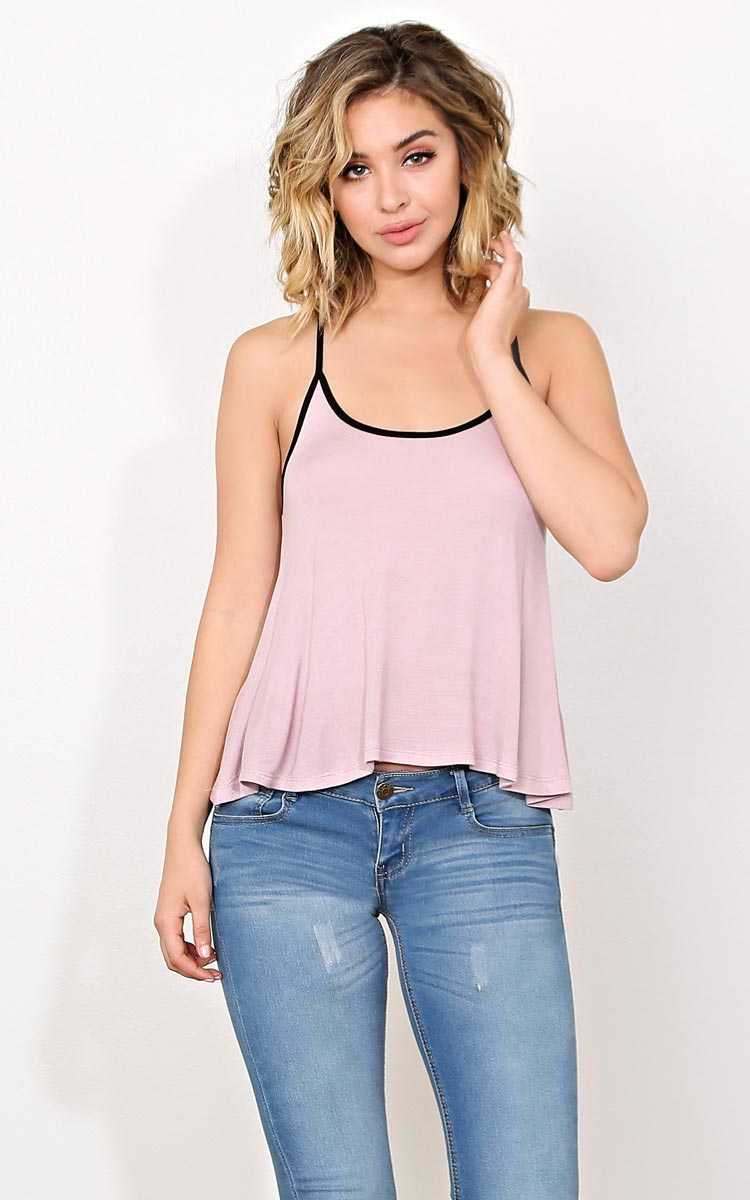 Tiana Contrast Strap Swing Tank - SML - Mauve in Size Small by Styles For Less