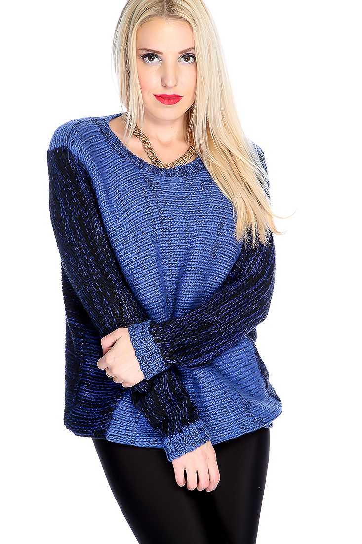 Blue Black Long Sleeve Two Tone Sweater