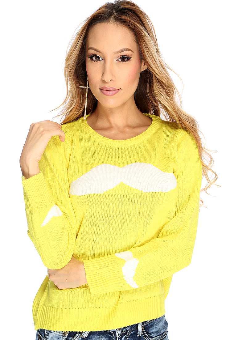 Yellow Mustache Pattern Casual Sweater