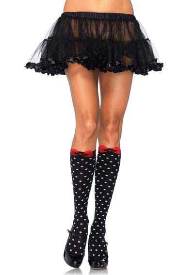 Black White Acrylic Polka Dot Woven Bow Knee Highs