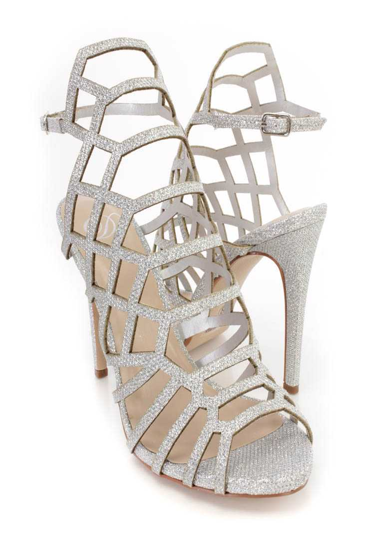 Silver Strappy Single Sole High Heels Glitter