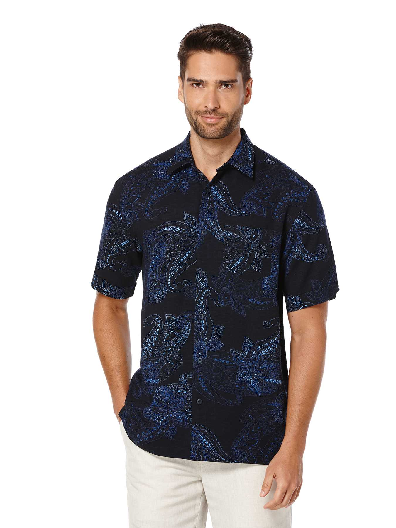 Cubavera Short Sleeve Allover Paisley Print