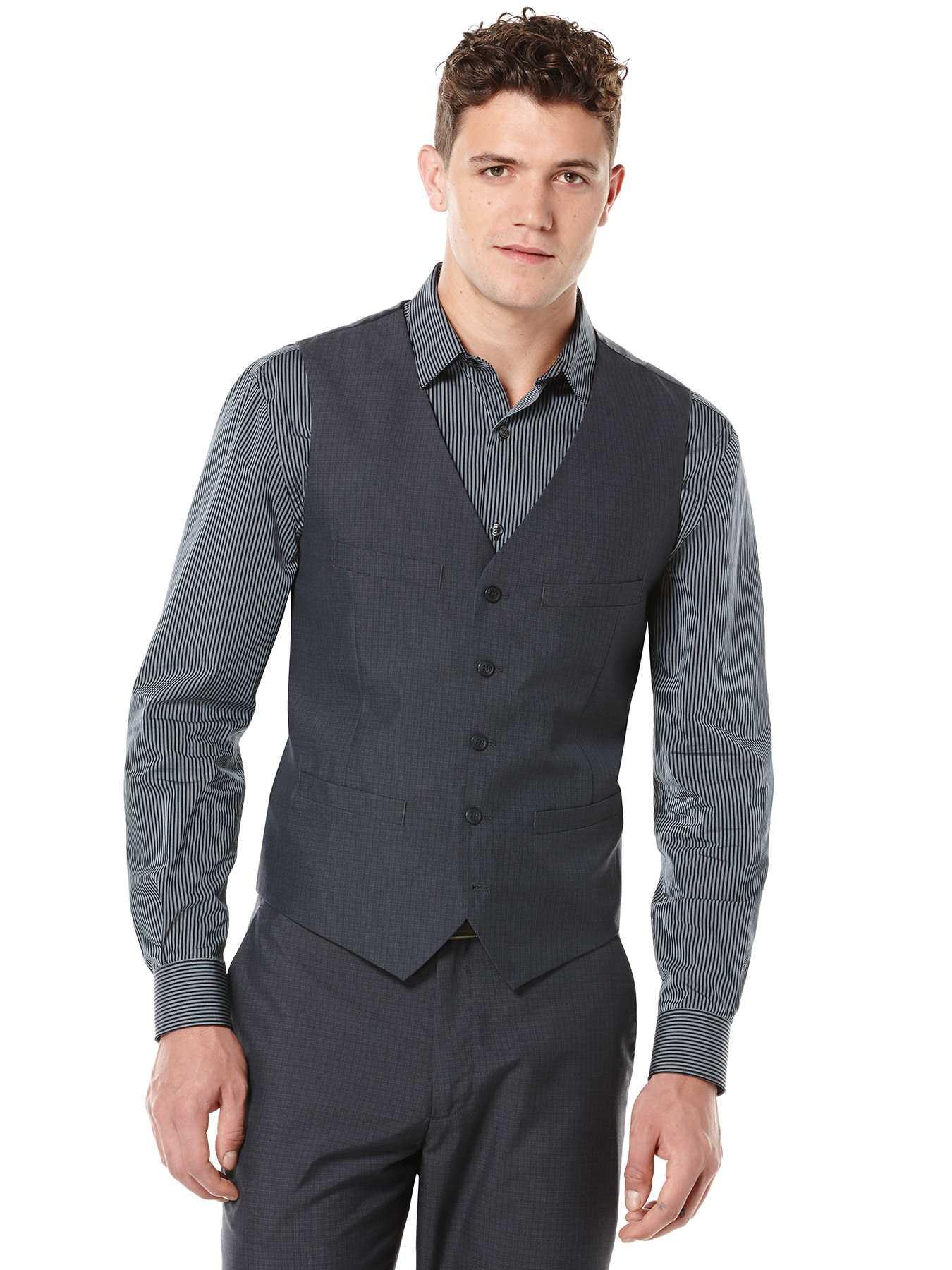 Perry Ellis Tonal Mini Plaid Suit Vest