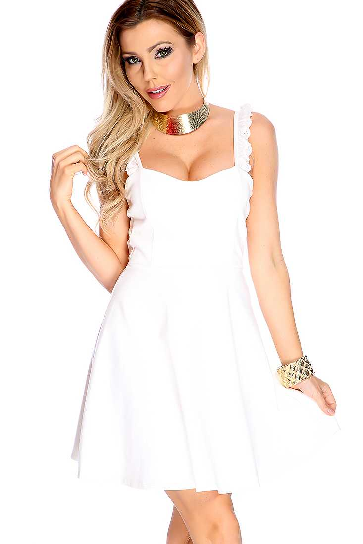 Sexy White Ruffle Strap Cut Out A-line Casual Dress