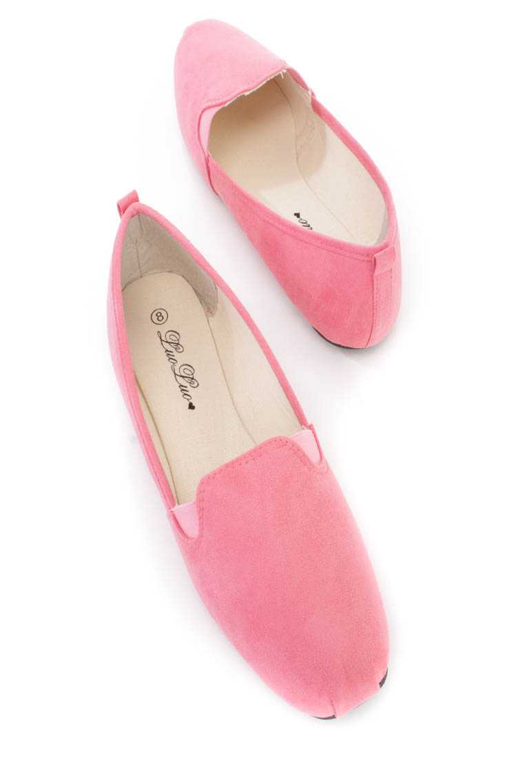 Coral Slip On Loafer Flats Faux Suede