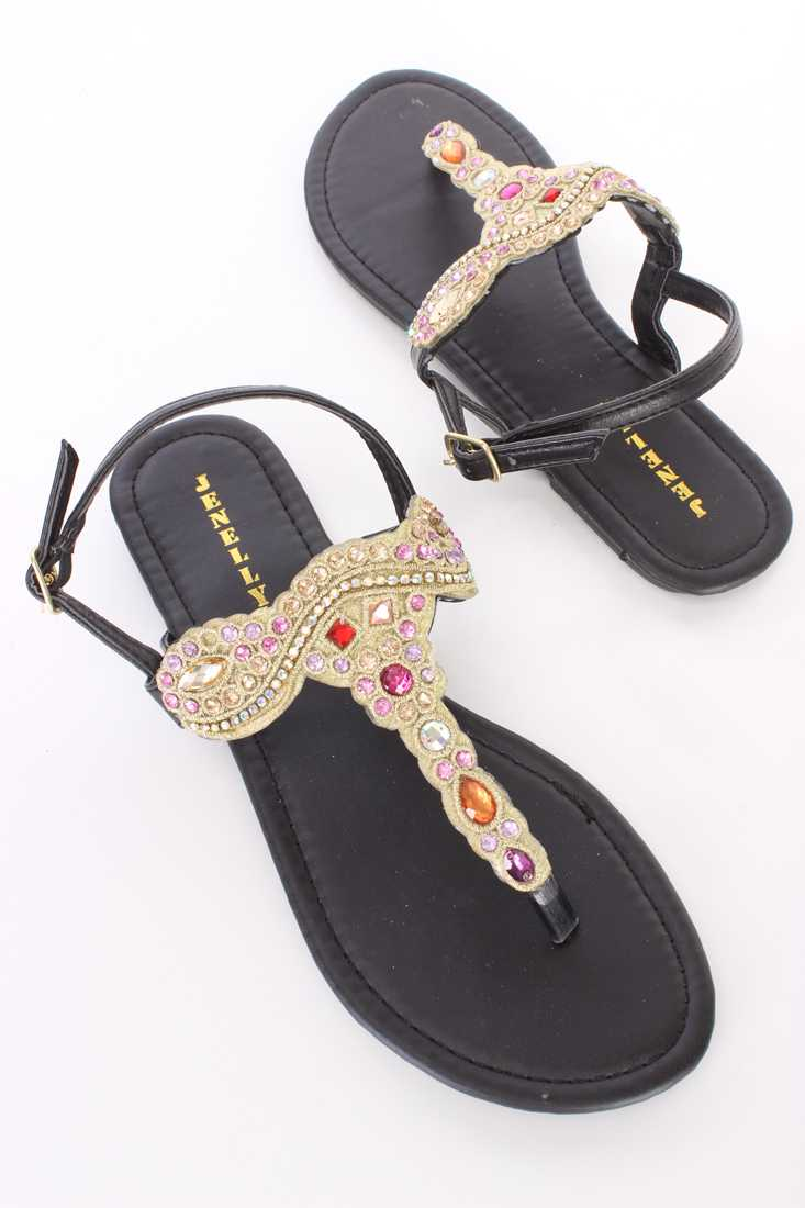 Black Gemstone Embroidered Thong Sandals Faux Leather