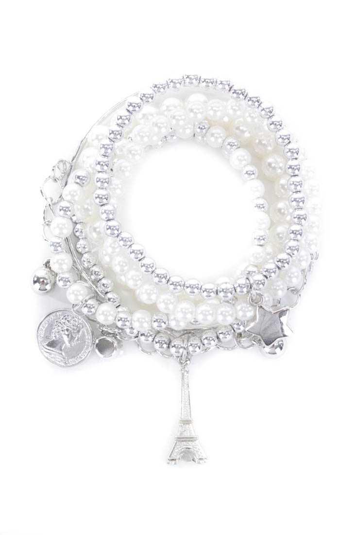 Silver Beaded Bracelet Set