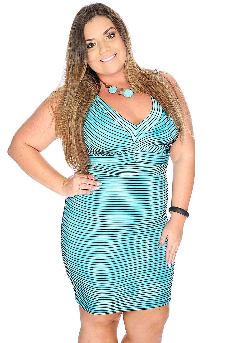 Sexy Bahama Blue Sleeveless V Neck Stripe Plus Size Party Dress
