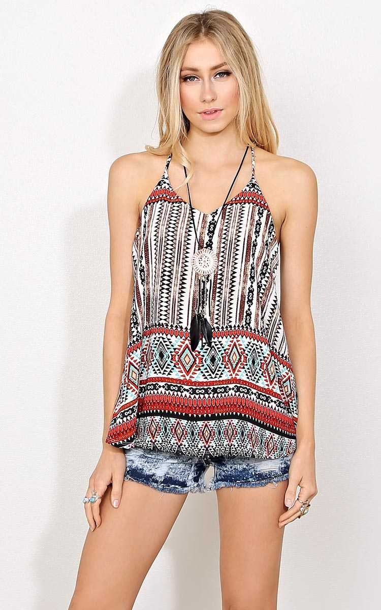 Aztec Dreams Crepe Necklace Tank - - Rust Combo in Size by Styles For Less