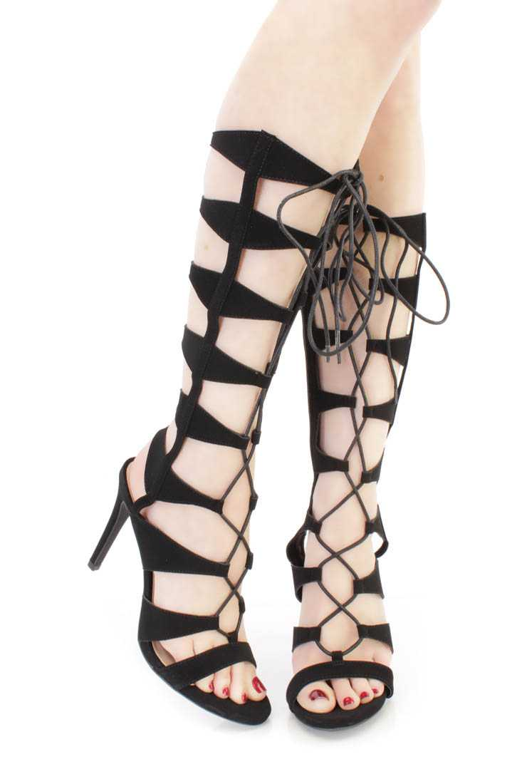Black Strappy Single Sole Gladiator High Heels Nubuck