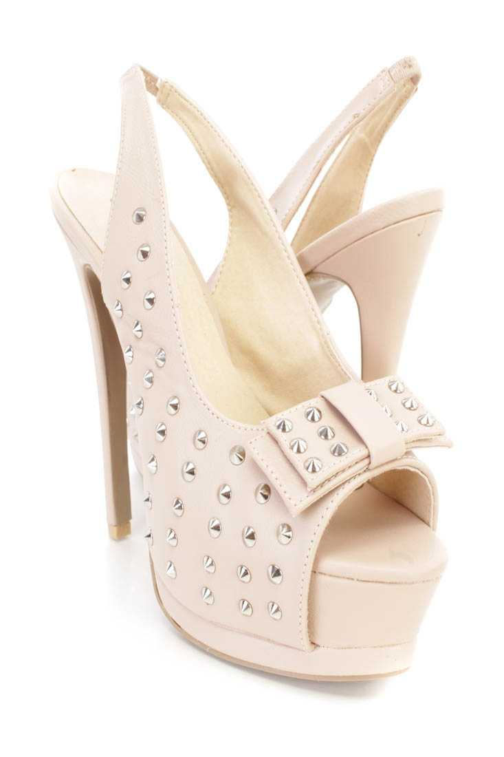 Nude Spike Studded Slingback 6 Inch High Heels Faux Leather