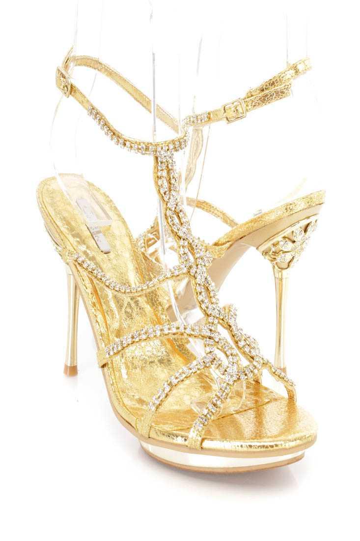 Gold Rhinestone T Strappy Stiletto Heels Faux Leather