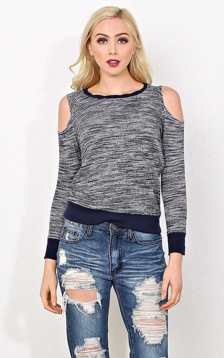 Sarah Marled Cold Shoulder Top - MED - Navy Combo in Size Medium by Styles For Less