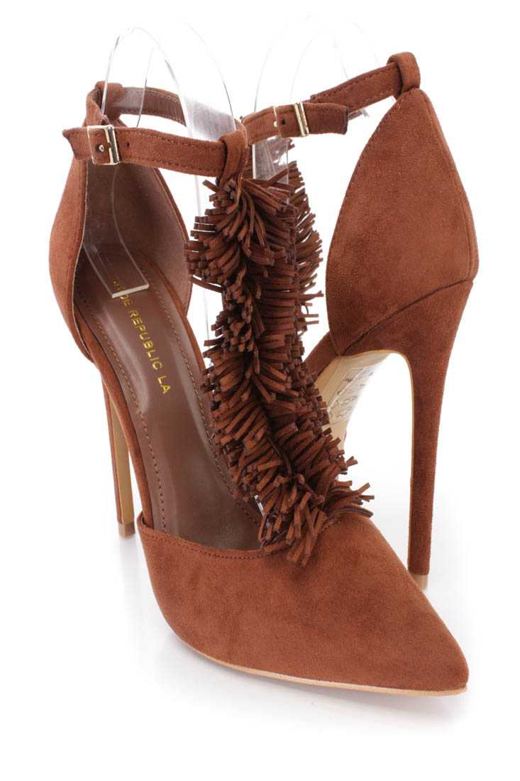 Brown Fringe T-strap Single Sole Heels Faux Suede
