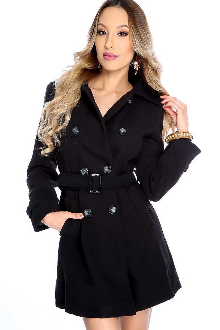 Stylish Black Long Sleeve Button Up Front Coat