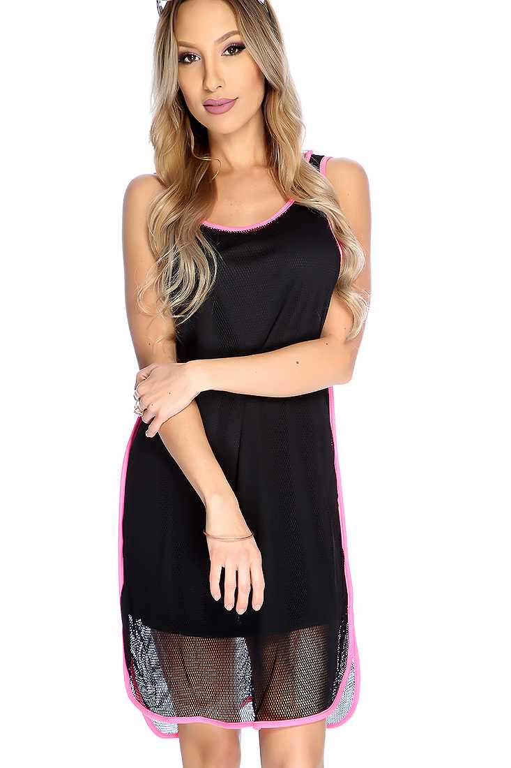 Sexy Black Sleeveless Round Neck Netted Overlay Casual Dress