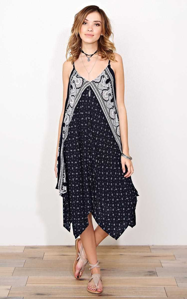 Paisley Darling Woven Trapeze Dress - - Navy Combo in Size by Styles For Less