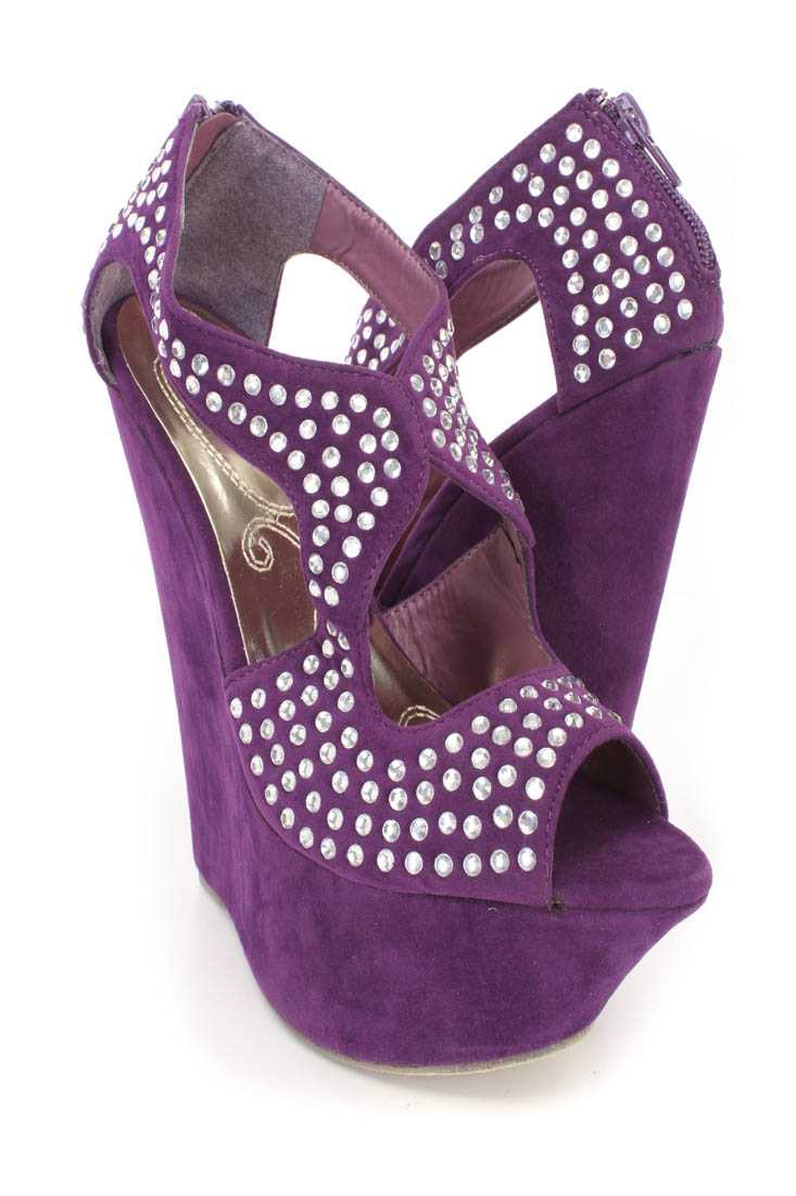 Purple Rhinestone Cut Out Platform Wedges Faux Suede